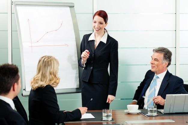Negocios: presentación dentro de un equipo en la oficina