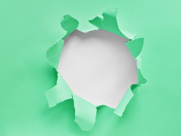 Neo mint y papel blanco en plano con espacio de copia en agujero rasgado