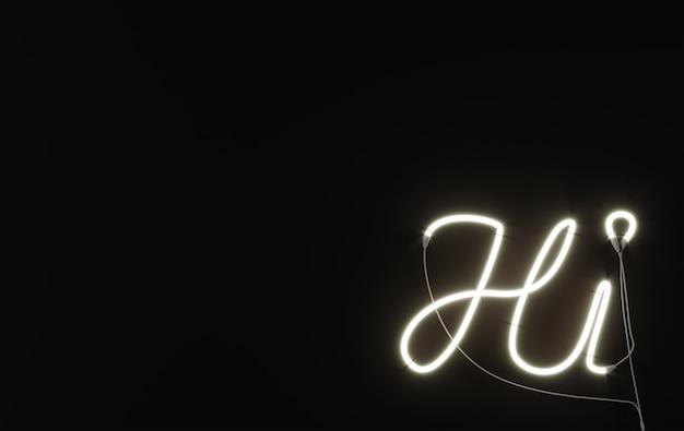 Neon hola letras sobre fondo negro clásico representación 3d