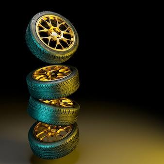 Neumaticos 3d con llantas doradas.