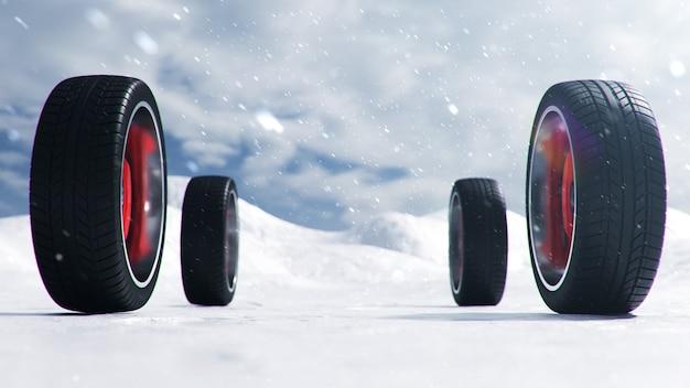 Neumáticos de invierno sobre fondo de tormenta de nieve, nevadas y resbaladizas carreteras de invierno. concepto de invierno seguridad vial