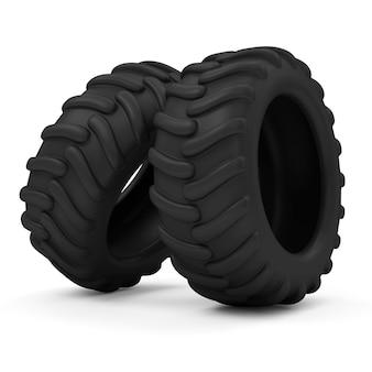 Neumáticos de tractor aislado sobre fondo blanco.