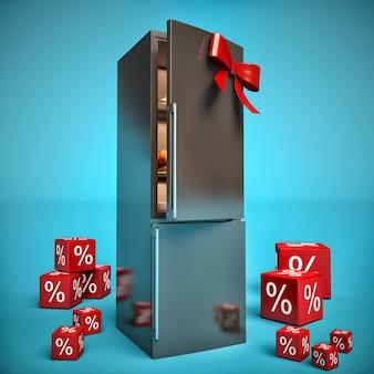 Nevera de metal con lazo rojo y regalos