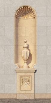 Nicho en el estilo clásico con un jarrón en un muro de piedra. representación 3d