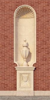Nicho en un estilo clásico con un jarrón en una pared de ladrillo. representación 3d