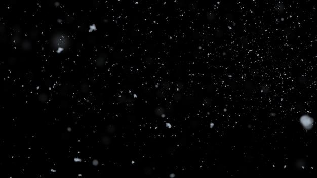 Nieve realista borrosa cayendo sobre fondo negro