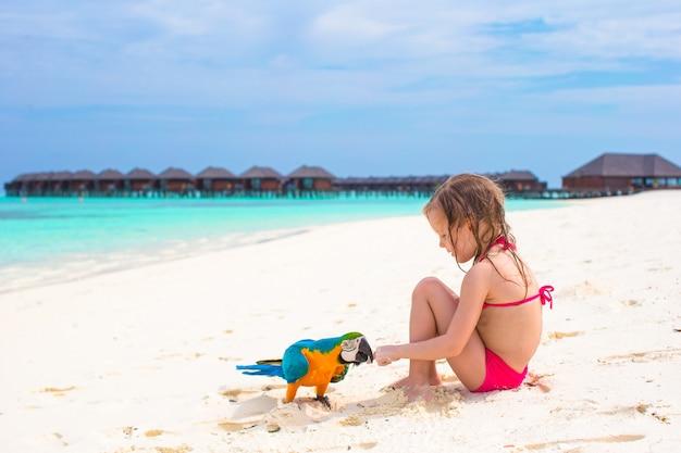 Niña adorable en la playa con loro colorido