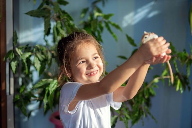 La niña en casa juega con su mascota un jerbo mongol, se lo pone en el brazo y el hombro.