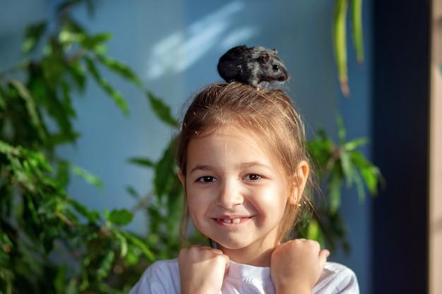 La niña en casa juega con su mascota un jerbo mongol, se lo pone en la cabeza