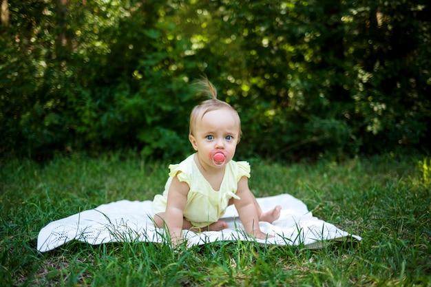 Una niña con un chupete está a cuatro patas sobre una manta en la naturaleza