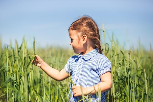 Niña examina plantas en el campo