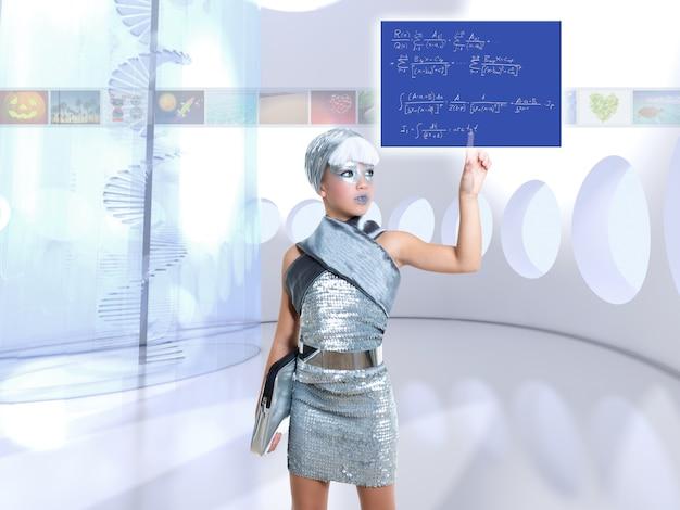 Niña futurista en plata toque dedo fórmula matemática