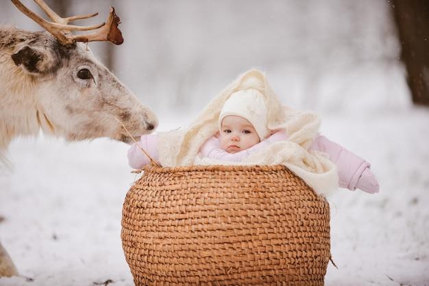 Niña junto a un reno en un parque
