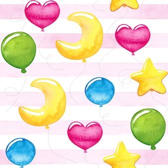 Niña linda globos coloridos acuarelas