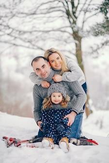 Niña con padres sentados sobre una manta en un parque de invierno