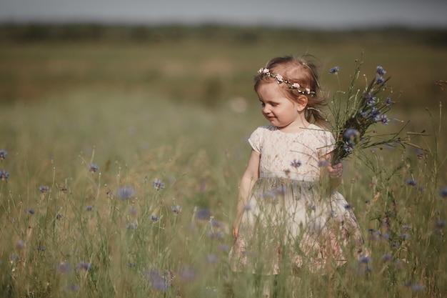 Niña pequeña con el pelo largo, vestido blanco caminando sola en el campo de amapolas y recogiendo flores para un ramo