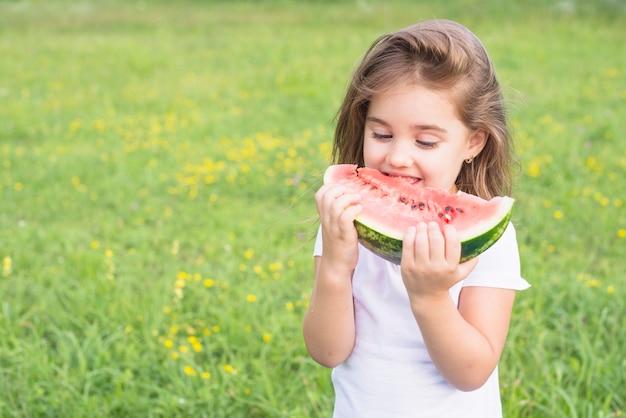 Niña de pie en el campo comiendo rojo rebanada de sandía