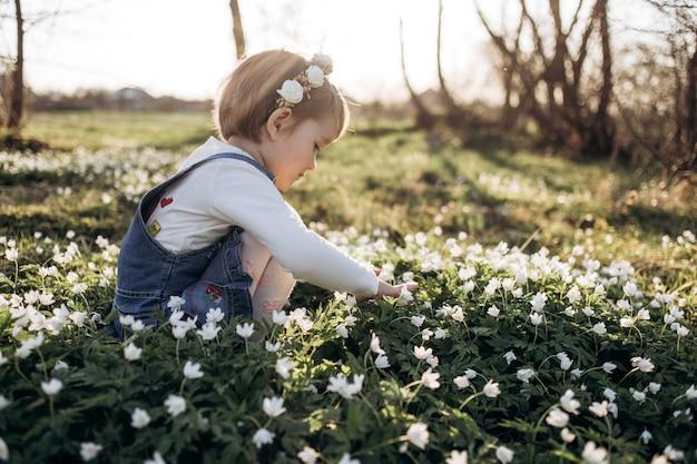 Niña recoge flores