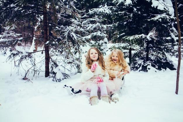 Niñas divirtiéndose juntos en el bosque de invierno.