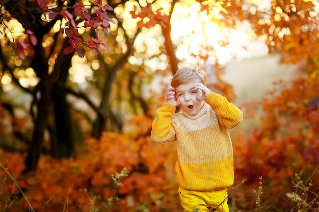 Niño alegre niño en ropa de abrigo se para frente a la cámara y hace muecas