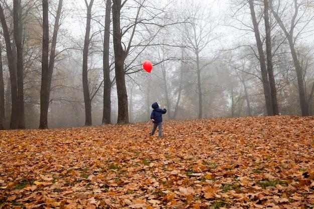 El niño camina en el parque con un globo rojo inflado con helio.