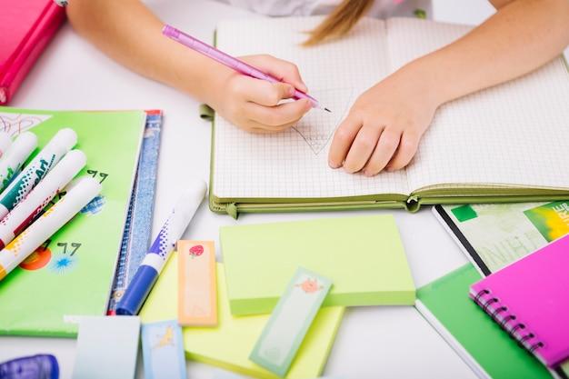 Niño, dibujo, cuaderno