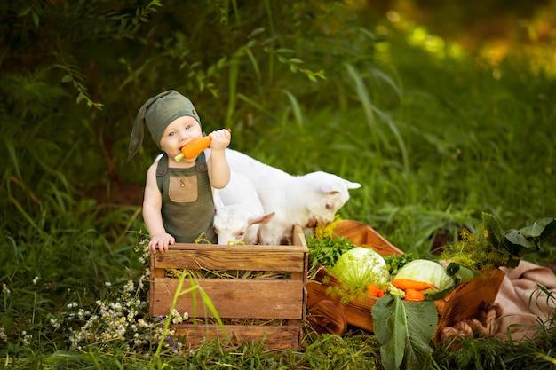 Niño feliz niño con cabras blancas en primavera en la naturaleza en el pueblo con hierbas y verduras