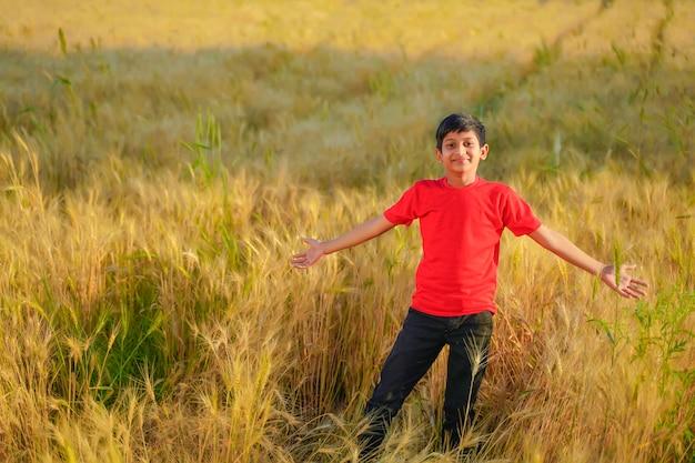 Niño indio joven que juega en el campo de trigo