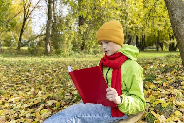 Niño lee un libro rojo en el parque otoño estudiante de vacaciones escolares está haciendo lecciones al aire libre niño lee hada