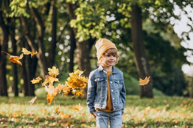 Niño lindo jugando con hojas en el parque otoño