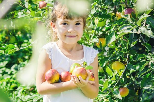 Niño con niño con una manzana. enfoque selectivo