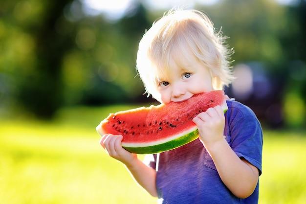 Niño pequeño caucásico lindo con los pelos rubios que comen la sandía fresca al aire libre