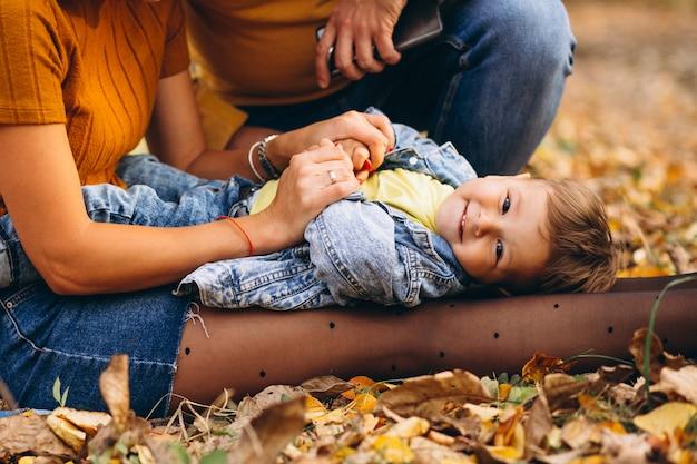 Niño pequeño que miente en las rodillas de la madre en parque
