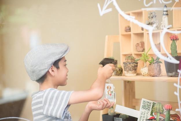 Niño regando cactus en la tienda