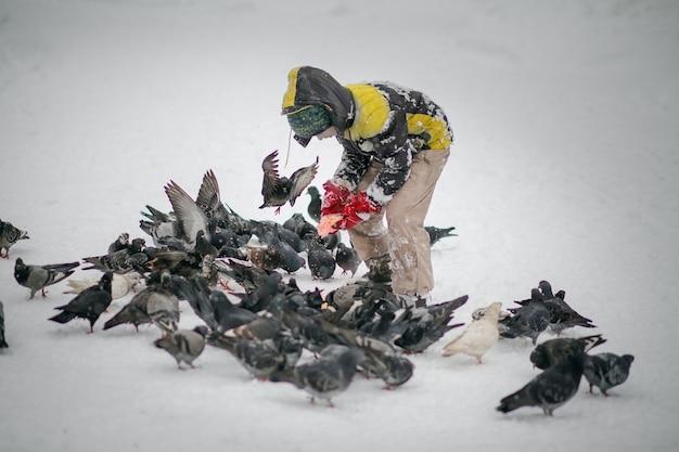 Niño en ropa de abrigo de invierno alimenta palomas en el parque de la ciudad