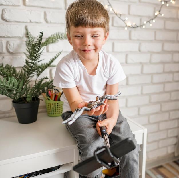 Niño sonriente jugando con araña