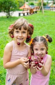 Los niños comen cerezas en verano.