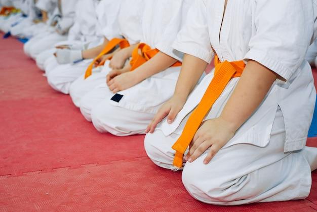 Niños entrenando en karate-do.