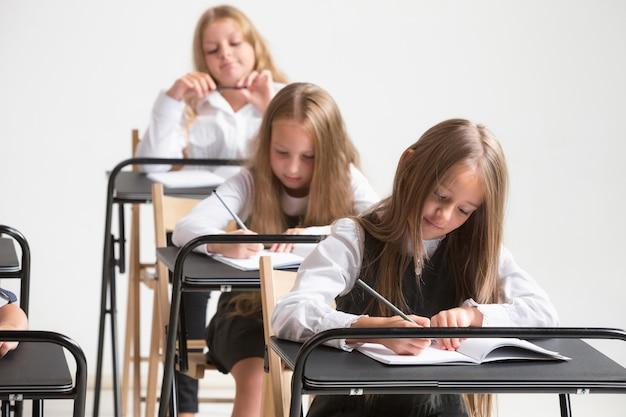 Niños de la escuela en el aula en la lección