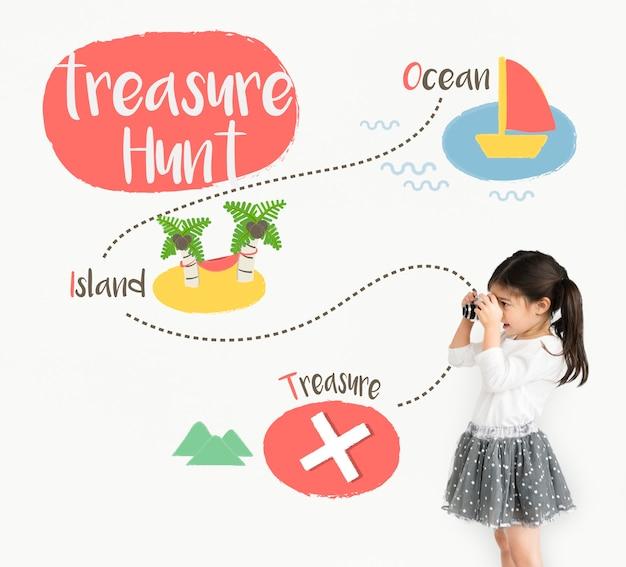 Niños jugando gráfico de búsqueda del tesoro.