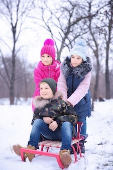Niños lindos en trineo en el parque cubierto de nieve en vacaciones de invierno