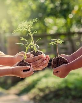 Niños y padres que sostienen la planta joven en manos como concepto del mundo de la salvación en tono del color del vintage