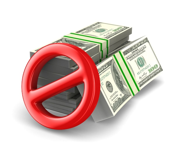 No hay dinero en efectivo en espacios en blanco. ilustración 3d aislada