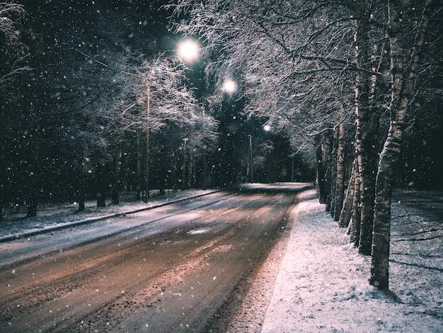 Noche rural de invierno vacía camino rural con luces.