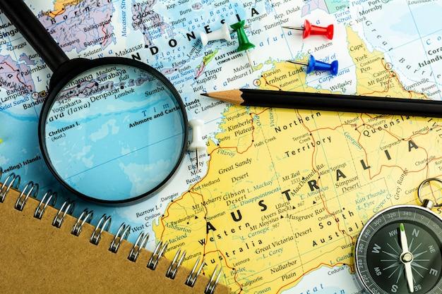 Nota dispositivo en el mapa de australia