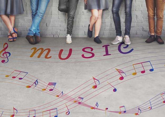 Nota musical arte del concepto instrumental de sonido