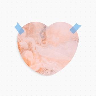 Nota de papel con forma de corazón de fondo abstracto pastel y cinta washi