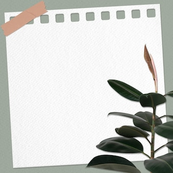 Nota de papel con planta de caucho