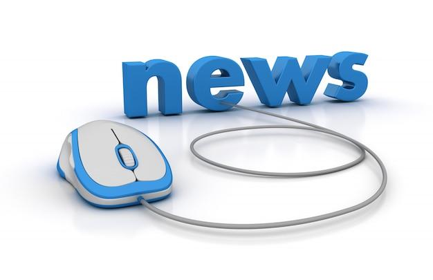 Noticias 3d word con mouse de computadora