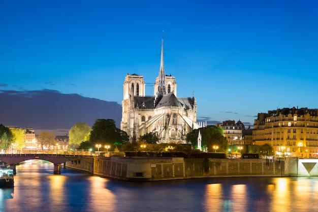 Notre dame de paris con crucero en el río sena en la noche en parís, francia